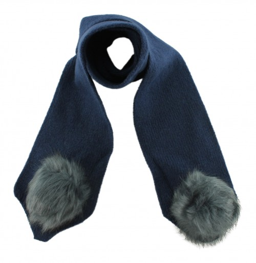 Zelly Detachable Bobble Scarf in Navy