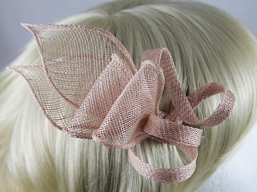 Wedding Hats 4U - Elegance Collection Small Sinamay Fascinator in Nude 3c24759ee51