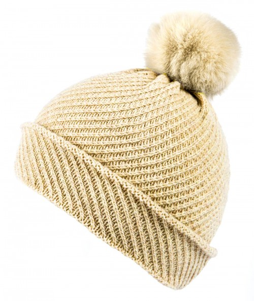 Alice Hannah Alina Diagonal Ribbed Beanie in Oatmeal