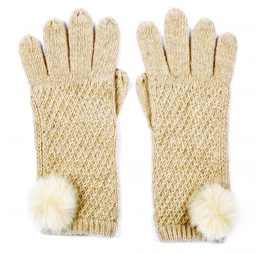 Alice Hannah Alina Diagonal Ribbed Gloves in Oatmeal