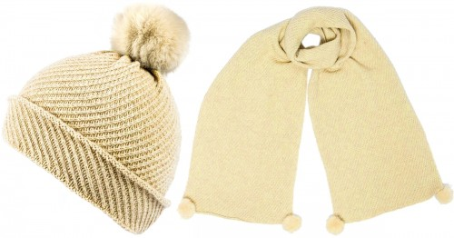 Alice Hannah Alina Diagonal Ribbed Beanie with Matching Scarf in Oatmeal