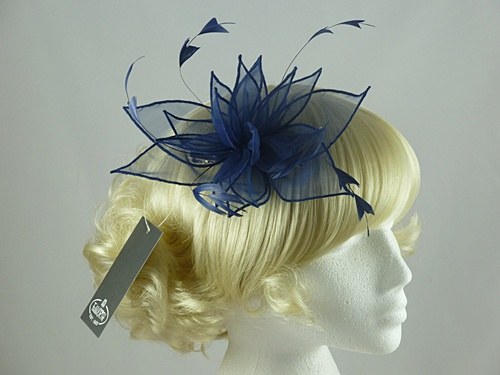 Failsworth Millinery Organza Fascinator in Navy