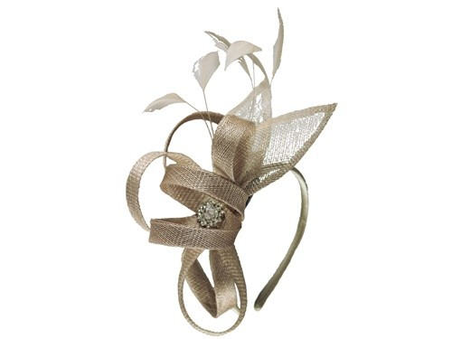 Elegance Collection Fascinator with Diamante in Oyster
