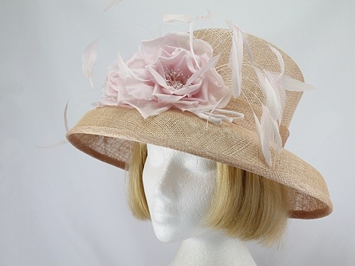 Pale Bronze and Pink Wedding Hat