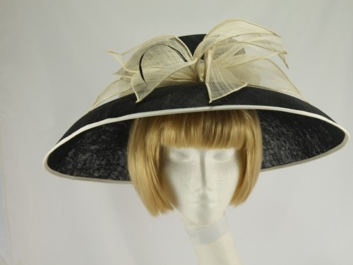 Pale Cream and Black Wide Brimmed Hat