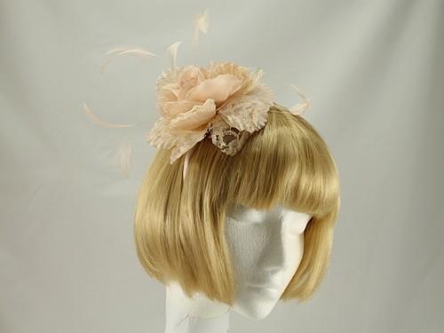 Pale Peach Rose Aliceband Fascinator
