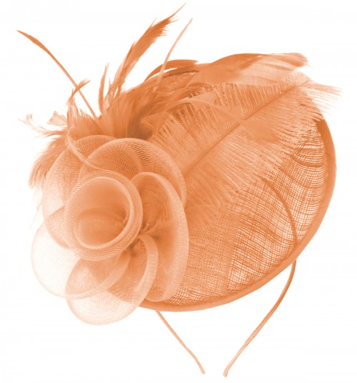 Fascinators 4 Weddings - Aurora Collection Rose and Feather Disc in Peach 38069cfb4ef