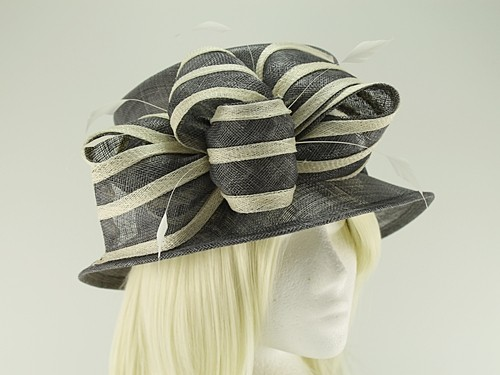 Hawkins Collection Ivory Stripes Wedding Hat