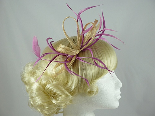 Pink and Cream Biots Fascinator