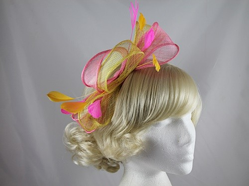 c687f53edbb8f Fascinators 4 Weddings - Large Loop Fascinator in Pink   Yellow