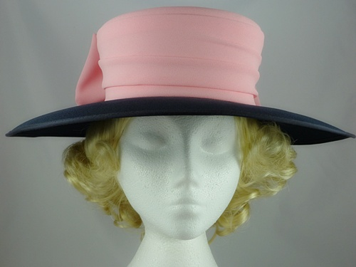 6994cde3c63f6 Simon Ellis Pink & Navy Wedding Hat