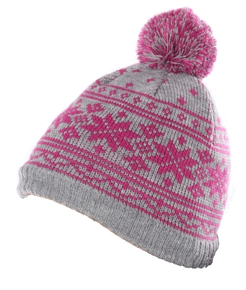 040e10f31d0 Fascinators 4 Weddings - Hawkins Snowflakes Beanie Ski Hat in Pink   Grey  (A865)