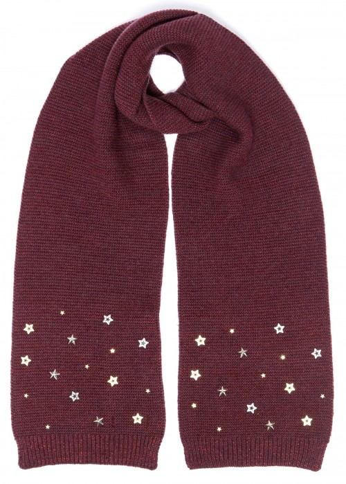 Alice Hannah Allie Sparkly Stars Scarf in Plum