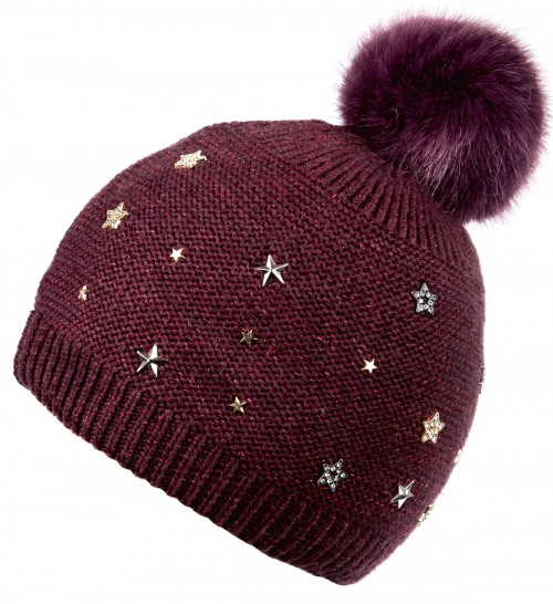 Alice Hannah Allie Sparkly Stars Bobble Hat in Plum