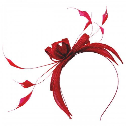 Failsworth Millinery Sinamay Fascinator in Ruby