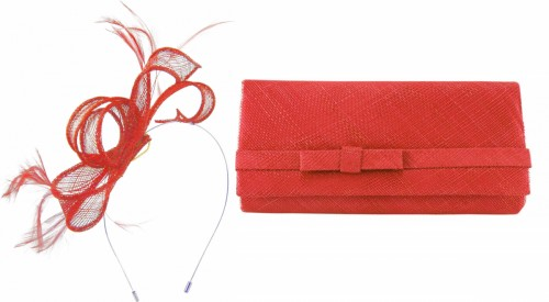 Max and Ellie Sinamay Fascinator in Poppy