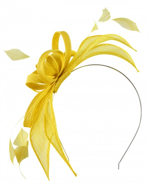 Failsworth Millinery Sinamay Fascinator in Primrose