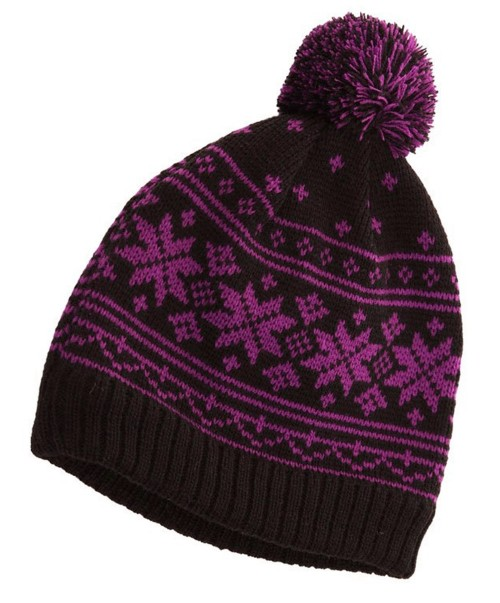 34be61033e6 Fascinators 4 Weddings - Hawkins Snowflakes Beanie Ski Hat in Purple    Black (A865)