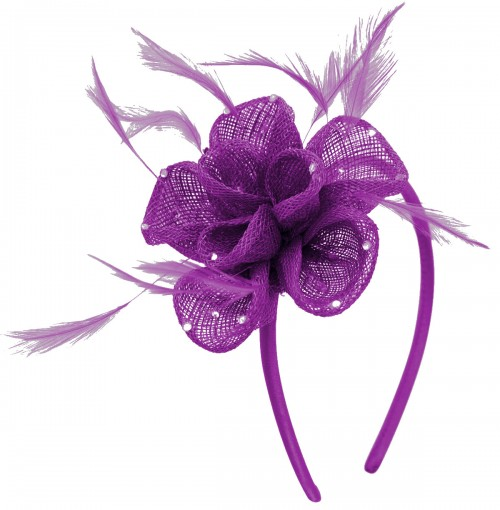Elegance Collection Diamante Flower Fascinator in Purple