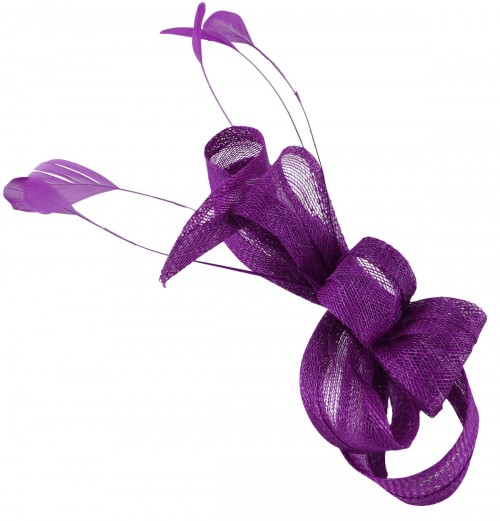 Elegance Collection Loops Clip Fascinator in Purple