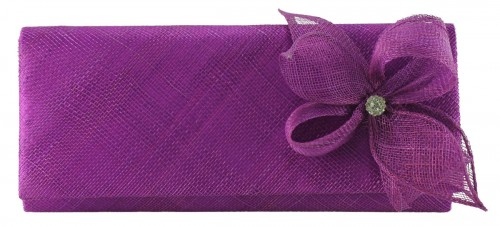 Elegance Collection Sinamay Diamante Occasion Bag in Purple