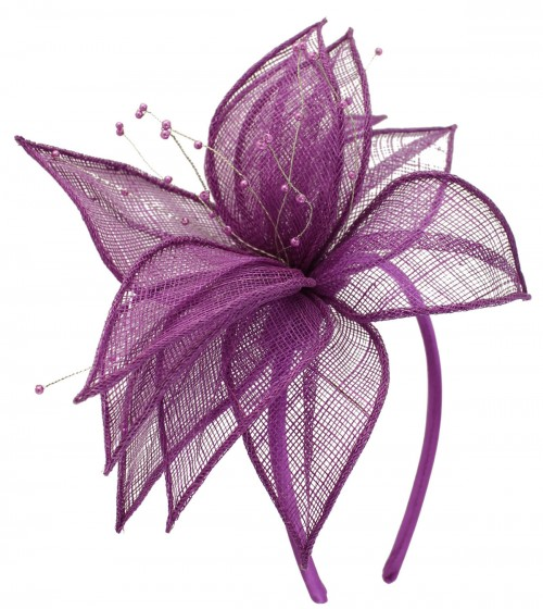 Elegance Collection Sinamay Leaf Fascinator in Purple