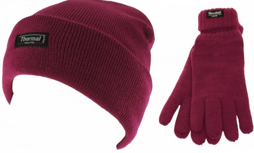 aafc02e9151 Thinsulate Ladies Beanie Ski Hat with Matching Gloves in Raspberry