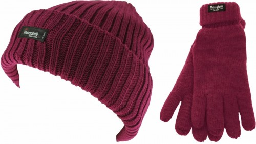 Thinsulate Ladies Chunky Beanie Ski Hat with Matching Gloves