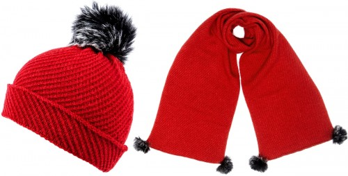 Alice Hannah Alina Diagonal Ribbed Beanie with Matching Scarf in Red