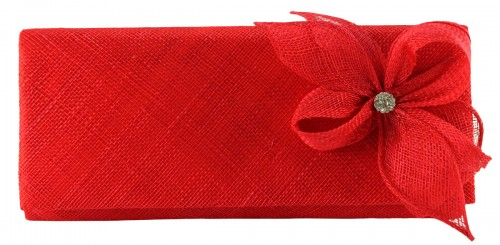 Elegance Collection Sinamay Diamante Occasion Bag in Red