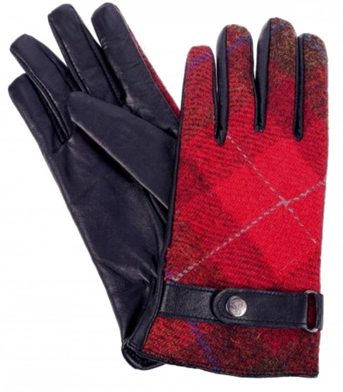 Failsworth Millinery Harris Tweed Gloves in Red