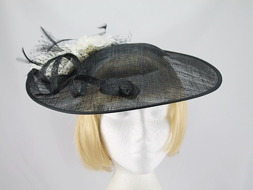 Roman Originals Black and Ivory Large Fascinator