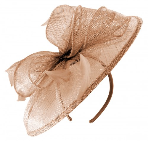 Failsworth Millinery Sinamay Disc Headpiece in Rose-Gold