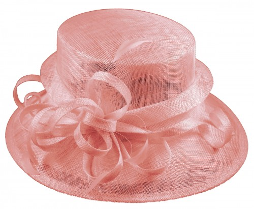 Elegance Collection Sinamay Loops Wedding Hat in Rose