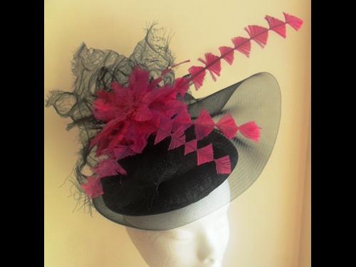 Suzie Mahony Designs Black and Cerise Beret