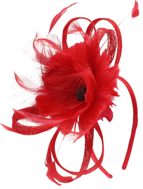 Failsworth Millinery Flower Fascinator in Salsa