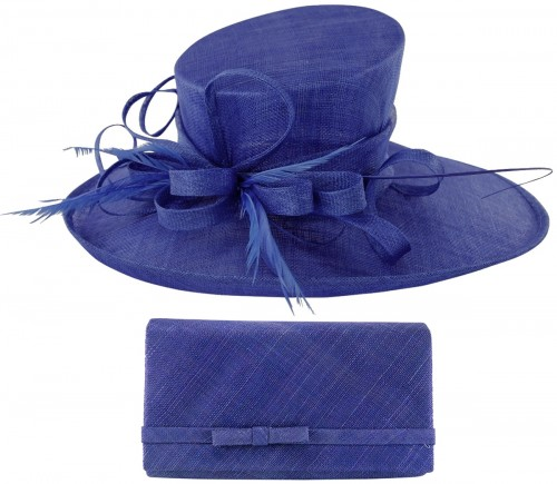 Max and Ellie Events Hat with Matching Large Occasion Bag in Sapphire