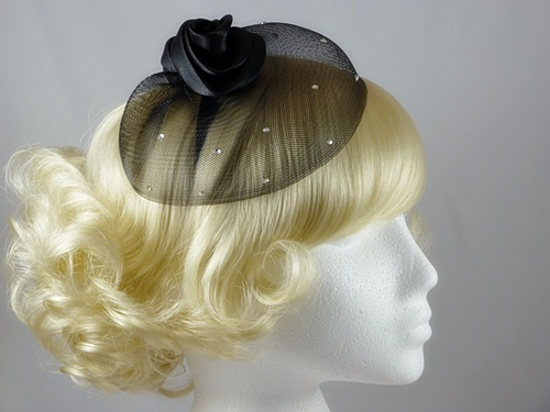 Satin Twist and Veil Fascinator