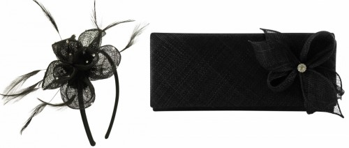 Elegance Collection Diamante Flower Fascinator with Matching Bag