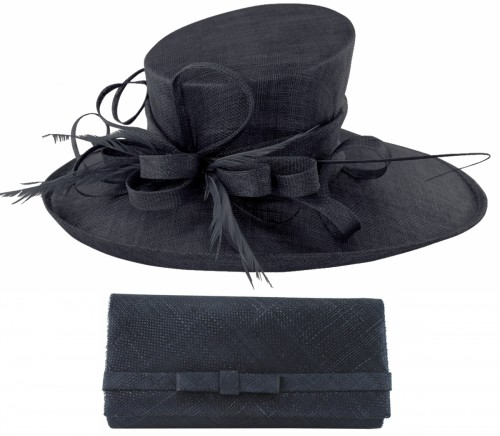 Max and Ellie Events Hat with Matching Occasion Bag in Navy
