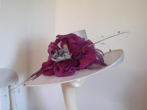 Designer Millinery by Rachel Wykes Ascot hat Silver Grey and Purple