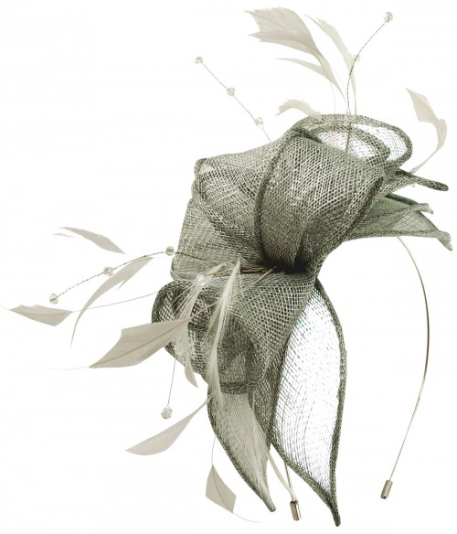 Max and Ellie Diamante Fascinator in Silver