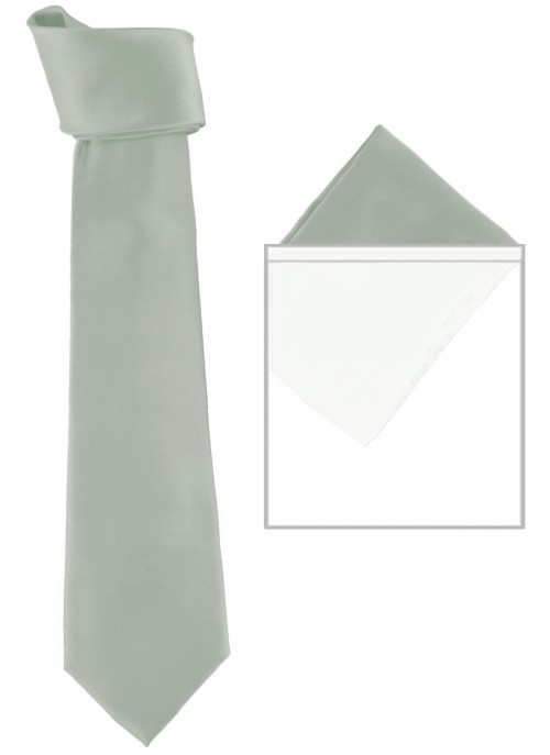 Max and Ellie Mens Tie and Pocket Square Set in Silver