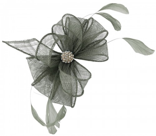 Elegance Collection Small Clip Diamante Fascinator in Slate