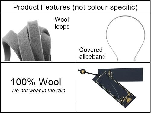 Failsworth Millinery Aliceband Wool Pillbox