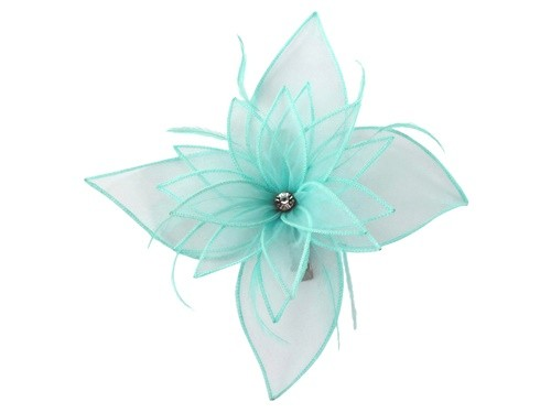 Failsworth Millinery Diamante Organza Fascinator in Surf