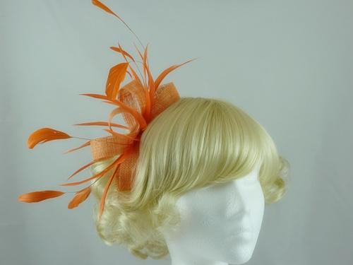 Wedding Hats 4U - Large LoopsTangerine Fascinator in Orange 8615fa14650