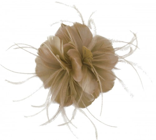Failsworth Millinery Feather Fascinator in Taupe