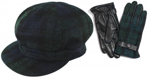 Failsworth Millinery Harris Tweed Bakerboy Cap with Matching Gloves