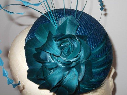 Designer Millinery by Rachel Wykes Wedding headpiece Teal Green and Blue 1bc51e55c36